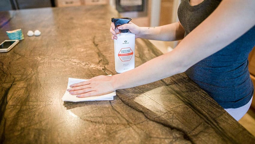 Marble sealers are applied to the surface of marble countertops